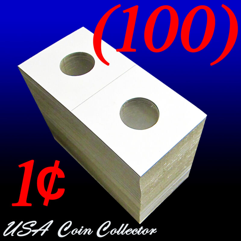 (100) Penny Size 2x2 Mylar Cardboard Coin Flips for Storage   1 Cent Holder
