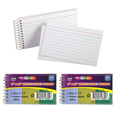 2 Pk Spiral Bound Index Cards 3 X 5 Ruled 60ct White School Office Perforated
