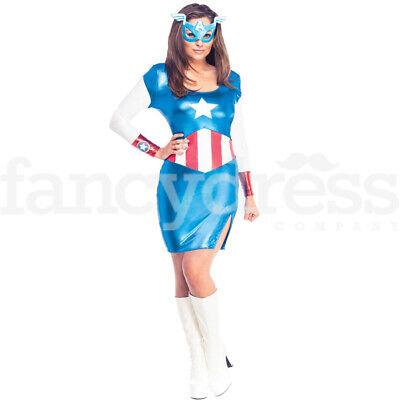 Ladies Captain America Costume Fancy Dress Superhero Avengers - Captain America Film Kostüm