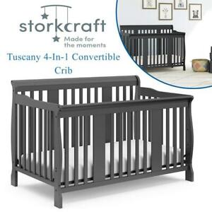 Used Storkcraft Tuscany 4-In-1 Convertible Crib, Gray Condtion: Used, Some scuffs please refer to images