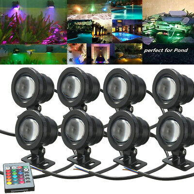 8Pack 20W RGB LED Light Underwater Spotlight for Fountain Pool Pond Controller
