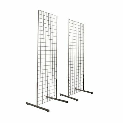Gridwall Panel Tower With T-base Floorstanding Display Kit 2-pack Black 2x5