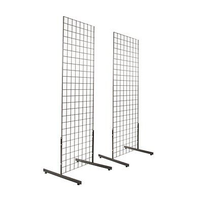 Gridwall Panel Tower with T-Base Floorstanding Display Kit, 2-Pack Black 2'x6'