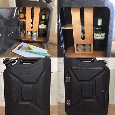 Upcycled Jerry Can Gin and Tonic Mini Bar, Picnic,Camping, Recycled, Matt Black