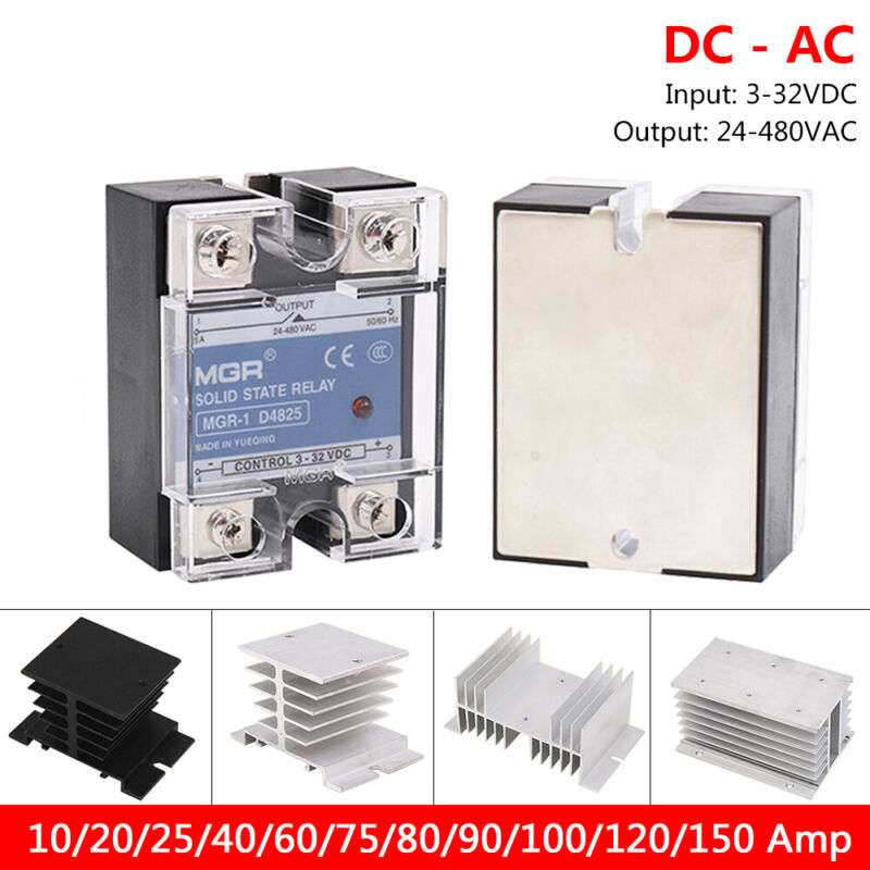 10-150 amp DC-AC Solid State Relays Single-phase SSR Input 3-32V, Output 24-480V