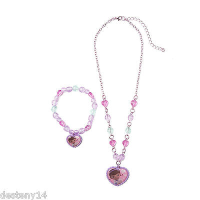 Disney Doc McStuffins Hearts & Crystal Beads Necklace & Bracelet Set NWT Purple](Doc Mcstuffins Bracelet)