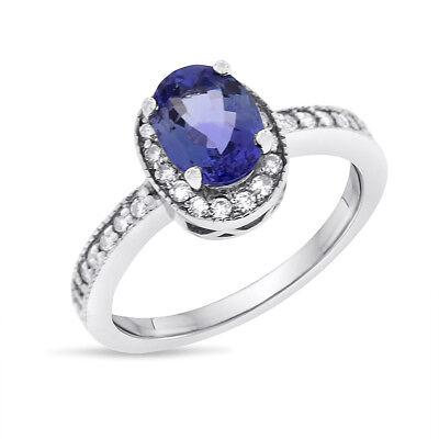 1.80 CT Natural Diamond & Tanzanite Halo Ring in Solid 14k White Gold