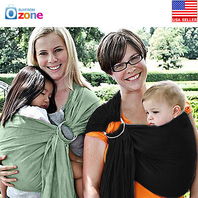 US Adjustable Ergonomic Infant Baby Ring Sling Carrier Wrap Pouch Cotton, Black