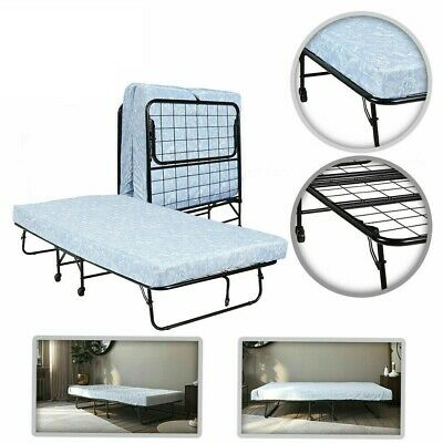 "Twin Folding Steel Frame Guest Bed 5"" Memory Foam Mattress Rollaway Camping NEW"