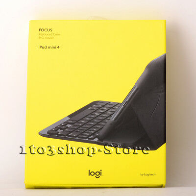 Logitech FOCUS Folio Bluetooth Keyboard Hard Case w/Stand for iPad Mini 4 Black