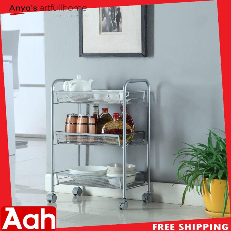 3-Tier Utility Mesh Rolling Storage Kitchen Office Carts Trolley Basket Shelves