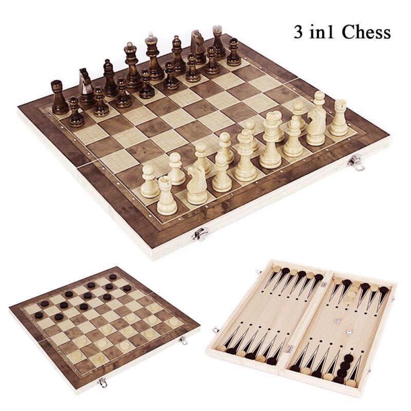 3 in1 Schach Dame Backgammon Brettspiel Holz Größe Gesellschaftsspiel StrategieT