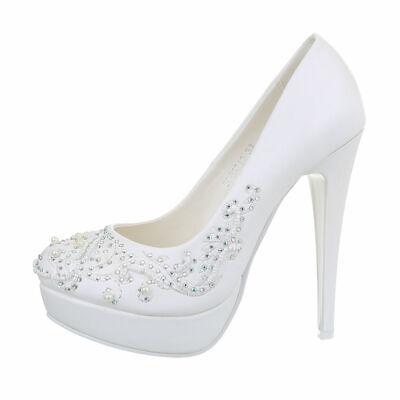 Tacones Altos Zapatos de Novia Bombas Mujer Diseñador Nuevo Talla 38 Blanco...