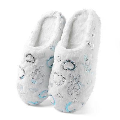 Girls White Slippers (White Women's Girls Fluffy Plush Fuzzy Love Heart Indoor Slippers Bedroom Shoes)
