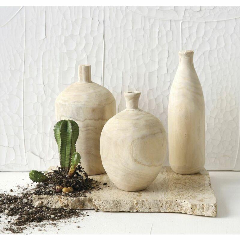 Natural Paulownia Wood Vase Set
