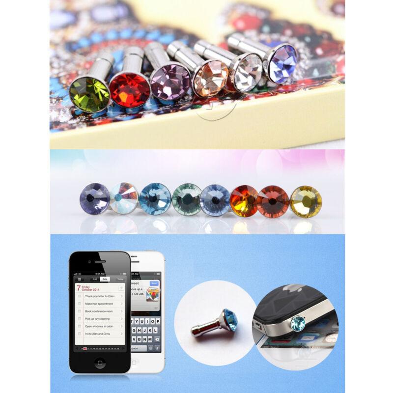 Headphone Anti-Dust Dock Cover 3.5mm Earphone Jack Plug Cap Crystal Jewelry 3PCS