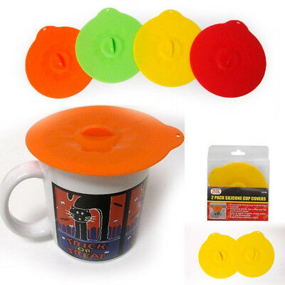 Cup Lids (2 Pc Silicone Leakproof Cup Cover Coffee Tea Sealing Mug Wrapping Lid Tool)