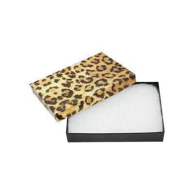 Gift Boxes Jewelry Leopard Print Cotton Filled Batting Box 100pc 5-38 X 3-78
