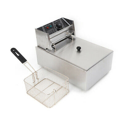6l Electric Deep Fryer Stainless Steel Single Tank French Fries Fried Chicken Us