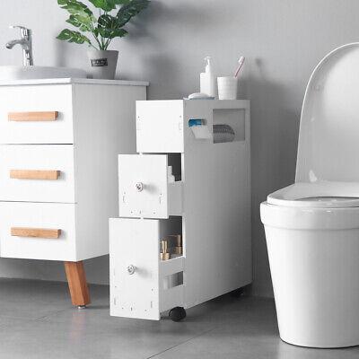 New White Floor Bath Cabinet Medicine Shelf Toilet Paper Storage Bathroom Drawer