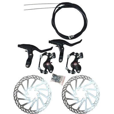Bicicleta MTB Delantero Trasero Freno de Disco Kit Rotor Pinzas Cable Maneta...
