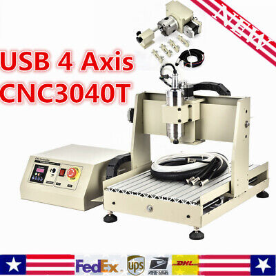 4-axis Cnc 3040 Router Engraver 800w Engraving Drilling Mill Carving Machine Us