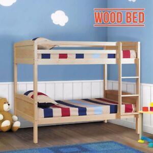3FT Single Pine Wood Bunk Bed Frame Split Into 2 Beds for Twins Kids Adult