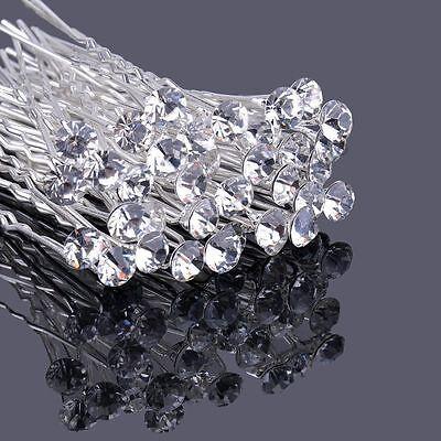 Clear Crystal Rhinestone Diamante Hair Pins Wedding Bridal Prom Party Gifts ()