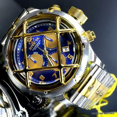 Invicta Russian Diver Nautilus Cage 2 Tone Steel Blue Chronograph 52mm Watch New
