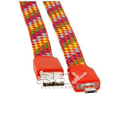 Cable Universal Plano USB a Micro USB Cordón Trenzado Nylón Universal Rojo v298 segunda mano  Embacar hacia Argentina