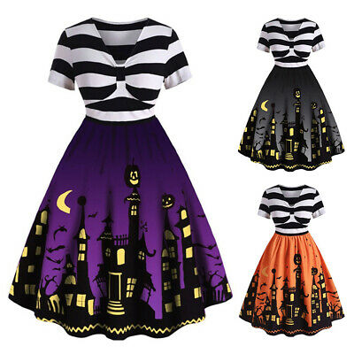 Plus Size Women Vintage Halloween Swing Skater Dress Party Fancy Dress Costume
