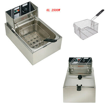 2500w Electric Countertop Deep Fryer Single Basket French Fry Restaurant Bar 6l