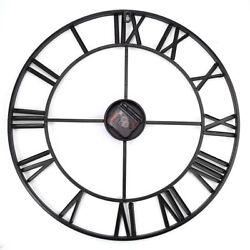 Iron Decorative Wall Clock Retro Big Art Gear Roman Numerals Design On The Wall