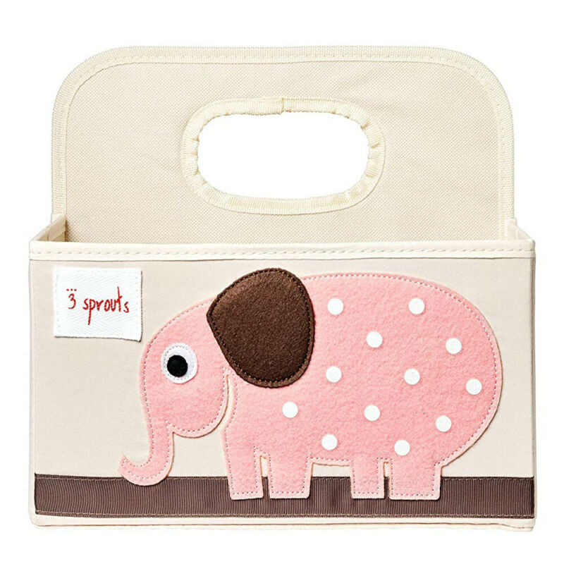 3 Sprouts UDOELE Polyester Divided Portable Diaper Caddy w/ Pink Elephant Design