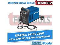 Draper 34185 230V GAS / GASLESS 180 Amp MIG Welder 0.6 - 1.2mm Wire Feed