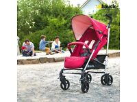 Exdisplay Hauck tango buggy Pram pushchair in red with rain over. Umbrella fold