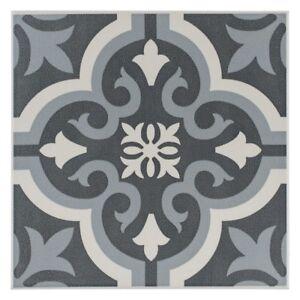 16 M2 Of Braga Black Grey Encaustic Tile 200x200