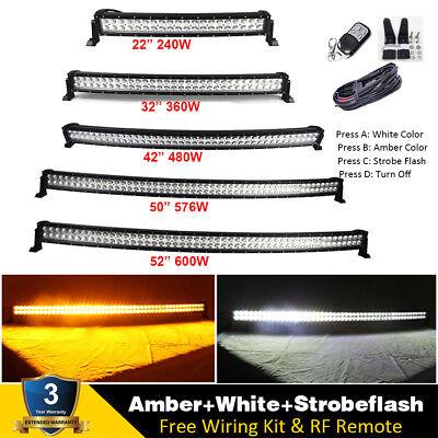 - Curved Amber/White/Strobeflash Led light Bar Offroad 22