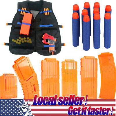 US Kids Toy Gun Clip Tactical Vest Foam Bullet Magazine Kits For Nerf N-strike x