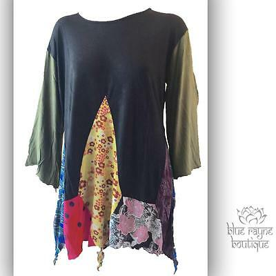 Fair Trade Long Sleeve Rayon Patchwork Asymmetric Pixie Hem Tunic One Size #2](Elf Tunic)