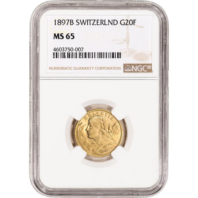 1897 B Switzerland Gold 20 Francs - NGC MS65