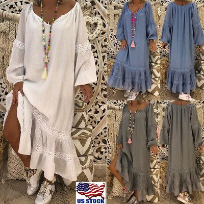 Short Caftan - Plus Size Women V neck Short Sleeve Loose Kaftan Tunic Ruffle Long Maxi Dress US