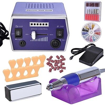 Professional Manicure Pedicure Electric Nail File Drill Machine Tool Set Kit Bit
