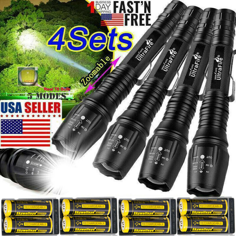 Zoomable Ultrafire Tactical 350000LM 5-Modes T6 LED Focus Fl