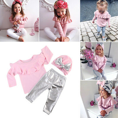 Newborn Kids Baby Girls Tops Long Sleeve Pants Outfits Set Casual Clothes 0-3T