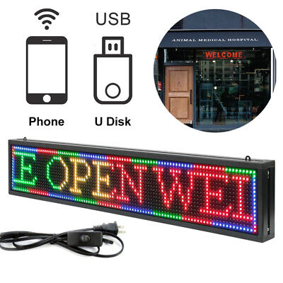 Led Message Sign Scroll Moving Display 40x8 Desk Board Programmable 7 Color Us