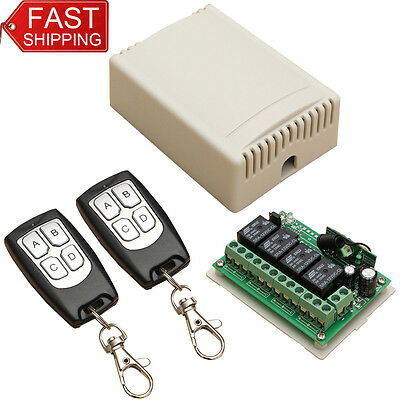 DC12V 4CH 200M Wireless Remote Control Relay Switch 2 Transceiver w/ Receiver WT