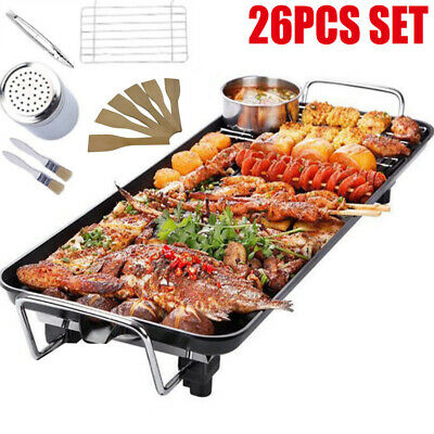 LARGE NON STICK GRILL TABLE ELECTRIC HOT PLATE BBQ GRIDDLE WITH UTENSILS 1400W