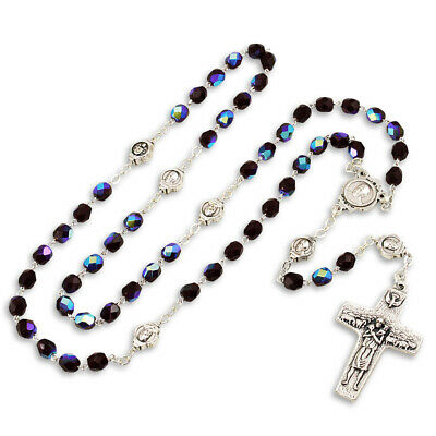 Dark Red Crystal Beads Rosary with The Original Pope Francis Cross by Vedele