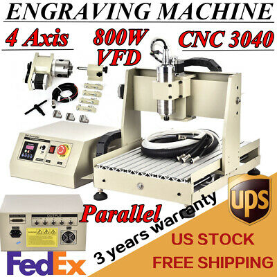 4 Axis 3040 Cnc Router Engraver Engraving Mill Machine Metal Cutter 800w Spindle